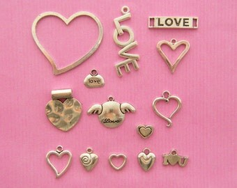 The Love Collection -  14 different antique silver tone  charms
