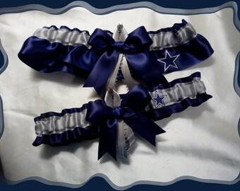 Navy Satin Ribbon Wedding Garter Set Made with Dallas Cowboys Fabric