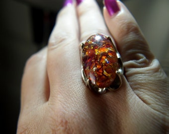 Opal Glass Ring - Sterling Silver - Vintage