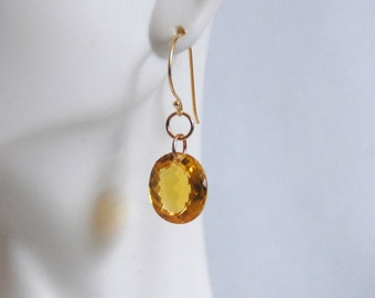 Gorgeous 21 ct Citrine Dangle Drop Earrings - Wedding Jewelry- Bridal accessories- Fine Jewelry- Citrine Earrings -Citrine Jewelry- For Her
