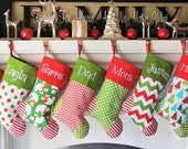 Set of 3 Personalized Christmas stockings choose your color combo for 3 and personalization 19 choices to choose from handmade