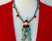 Adorable Clown Doll, Mali wedding beads, aventurine & glass beads, 2 prs. earrings, from the Doll Series, necklace set by SandraDesigns