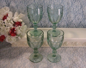 Vintage Libbey Gibraltar Spanish Green Footed Ice Tea or Water Tumblers Set of Four, Depression Elegant Glass Style, Kitchen Barware Glass