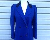 Royal Blue Wool Winter Coat, Long, Women's size Small