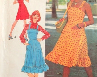 1970s Dress pattern, sleeveless sun dress, fitted bodice, shoulder straps, vintage sewing pattern Simplicity 6926 misses size 12 bust 34 UC