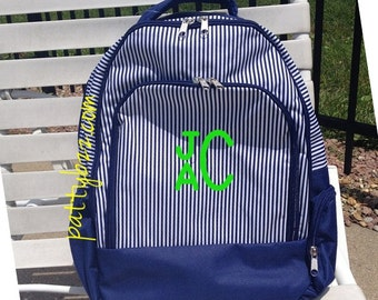 Monogram Navy Pinstripe Backpack | Personalized School Backpack | Preppy Design | Back to School