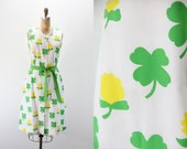 Vintage Dress - Vested Gentress - Four Leaf Clovers and Flowers