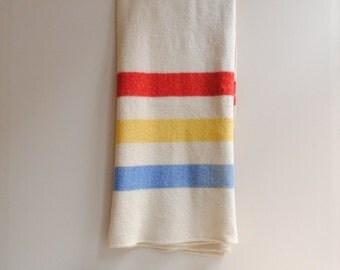Vintage Wool Hudson Bay Style Blanket - Twin Size