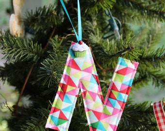personalized ornament letter ornament alphabet ornament initial xmas tree decoration fabric letter monogram