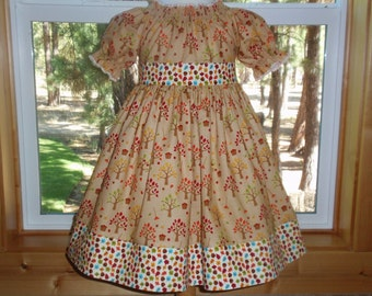 Girls Fall Dress, Back to School Dress, Girls Apple Dress, Toddler Baby Girl Fall Dress, Fall Peasant Dress, Brown Orange Red, Autumn Colors