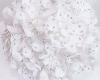 white flower crystal  wedding pillow round pouf circular pillow fibre pillow nursery decor baby pillow bedroom decor wedding home decor gift