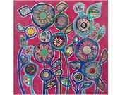 Mixed Media Original / Mixed Media Painting / Contemporary Art / 12 x 12 inches / Canvas Art / Original Art / August-born Zoe Ford