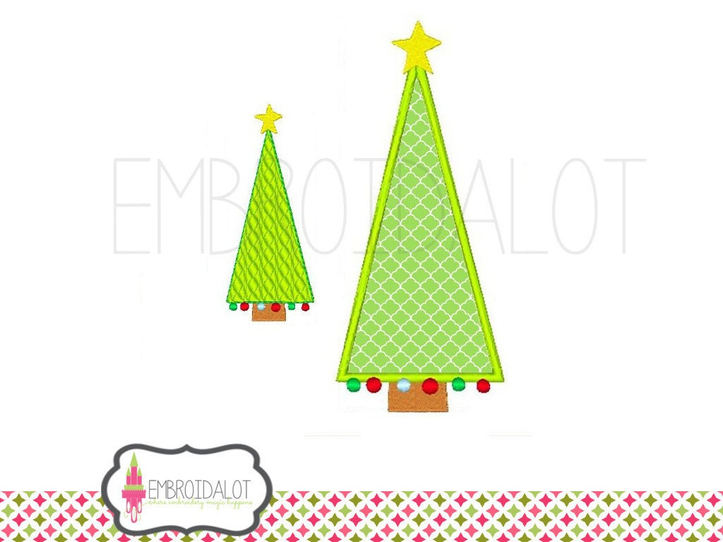 Christmas tree applique embroidery design modern and festive