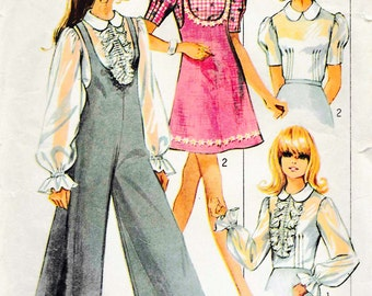 Simplicity 8200 Vintage 60s Jumper Romper Dress princess Sleeve Blouse Sew Pattern