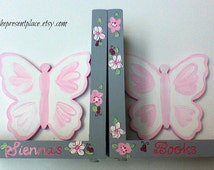 Butterfly bookends,pink and grey,daisies and ladybugs,butterflies,ladybugs,pink,gray,girls bookends,childrens bookends,personalized bookends