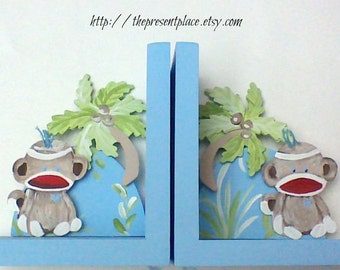 Hand painted wooden bookends with sock monkeys,light blue,beige,sock monkey bookend,personalized bookends,kids bookends,childrens bookends