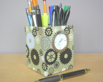 Pencil Cup With Working Clock, Industrial Chic,  Desk Accessories, Small Desk Clock, Back To School