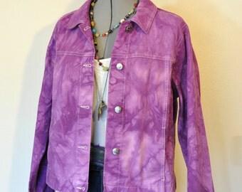 "Violet Medium Cotton JACKET - Purple Hand Dyed Upcycled LL Bean Cotton Trucker Jacket - Adult Womens Size Medium (42"" chest)"