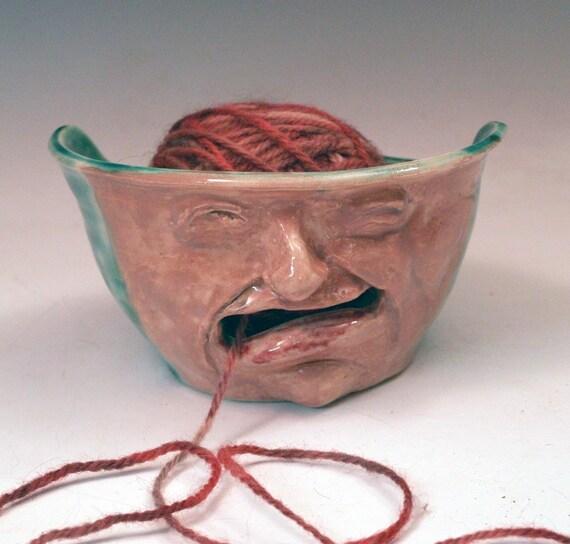 Knitting Bowl Face : Funny face yarn bowl handmade ceramic ooak
