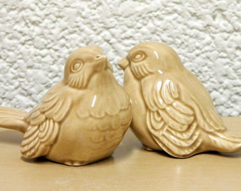Ceramic Love Bird Wedding Cake Toppers in Beautiful Mocha Tan Vintage Design Keepsake Home Decor - Made to Order