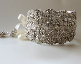 Wedidng Bridal Crystal Bracelet Cuff Bangle