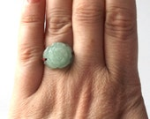 vintage 1990's jade flower ring macrame various sizes light green mint pastel womens jewelry stone fashion accessories modern retro rose