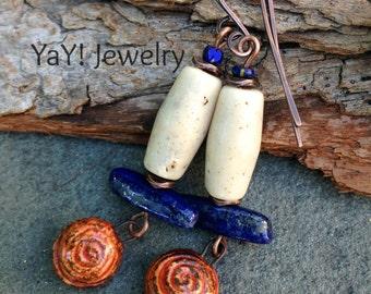 Phoenix Flight Earrings, Handmade Copper Wires, Lapis, Tribal Earrings, Rustic Tribal, German Resin, Earthy Tribal Jewelry by YaY Jewelry