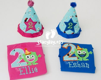 Party Outfit for Twins - Monster theme Party Hats and Monogram Shirts - for Cake Smash or Birthday Party - Baby - Boys