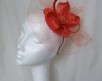 Dark Burnt Orange Veil Sinamay Loop & Pearl Wedding Fascinator Mini Hat - Custom Made to Order