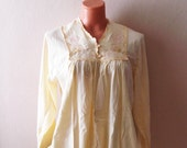 1990s Vintage Linen Nightgown or Hospital Gown, Women's Hospital or Maternity Gown