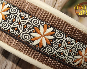 "BIG-dog by dogs-art, 2"" wide, PINWHEEL ZINNIA Easy Release Aluminum Buckle Leather Collar - creme/camel/brown"