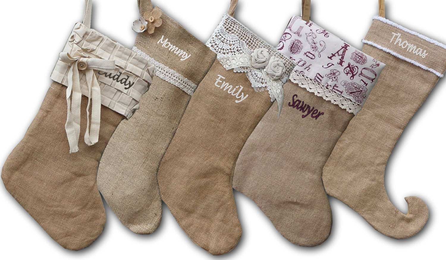 Burlap lace linen christmas stockings country by eugenie2 for Burlap christmas curtains