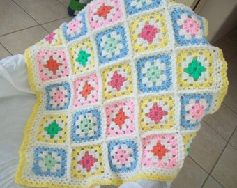 Baby Crochet Granny Square Throw Afghan pink, blue, soft yellow, and greens accented with off-white