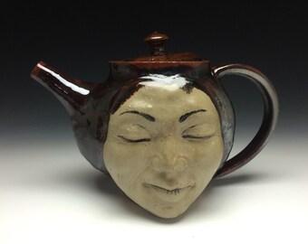 Face Teapot Serving Sculpture with Strainer, Stoneware Figure Art Vessel Portrait