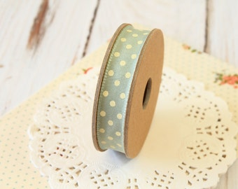 OLIVE pale green with Cream dots fabric cotton blend ribbon