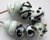 Destash lampwork glass beads Soft Green GlassbyLeese