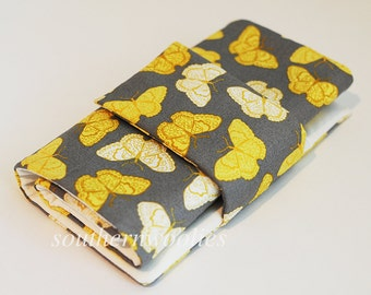 Knitting Needle Case for Interchangeable Tips and Circulars - Yellow Butterflies