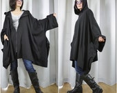 Chic Modern Casual Oversize Black Cotton Jersey Zip Front Coat Jacket Poncho Hood Winter Fall Women Men Jacket Coat Size14 To 5X