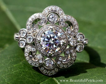 DUCHESS - 14k white gold - Floral - Round Diamond Engagement Ring or RIGHT Hand Ring Semi Mount - Setting ONLY - Weddings - Luxury - Bp0012