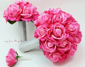 Bridal Bouquet Real Touch Roses Hot Pink Wedding Bouquet Real Touch Silk Flower Wedding - Groom's Boutonniere Toss Bouquet