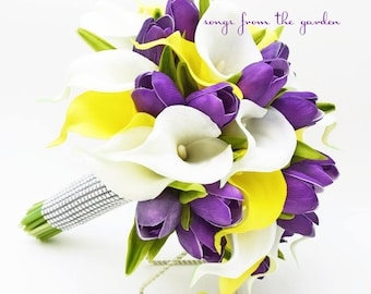 Real Touch Yellow White Callas Purple Tulips Bridal Bouquet - Real Touch Silk Flower Bridal Bouquet - Customize for your Colors