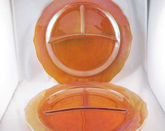 Federal Carnival Glass Iridescent Grill Divider Plates(2) Normandie Amber Circa 1933