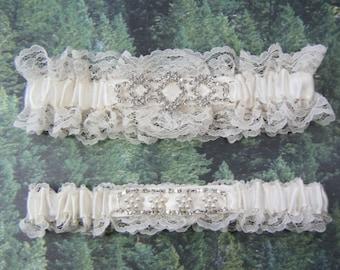 Ivory Lace Wedding prom garters ivory rhinestone Garter set
