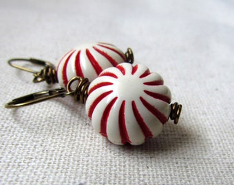 Vintage Style Peppermint Earrings, Candy Cane, Christmas Earrings, Red and White, Antiqued Brass, Winter Jewelry, Dangle Earrings, Whimsical