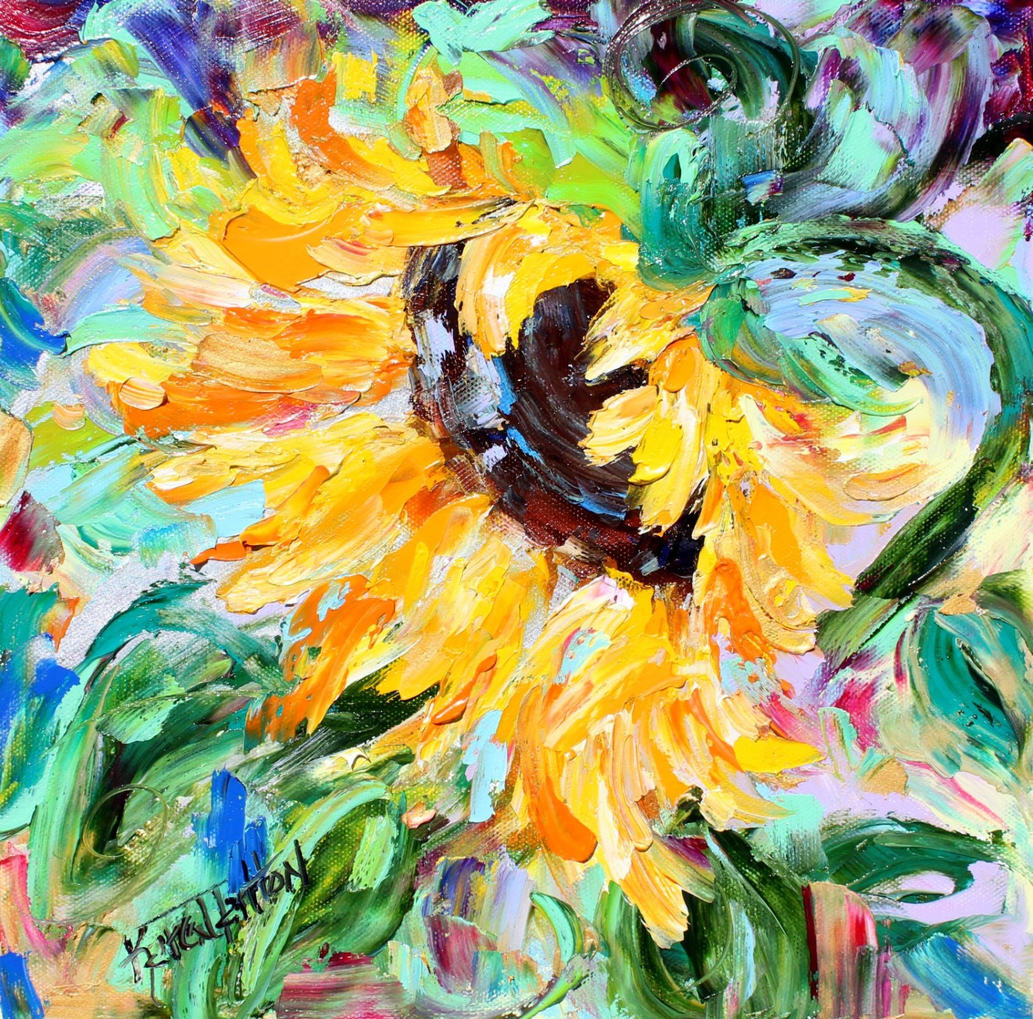 Original Oil Painting Reserved For Lori Sunflower By