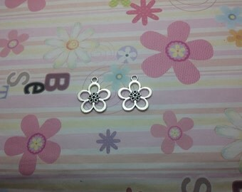 20pcs antique silver flower findings 25mmx21mm