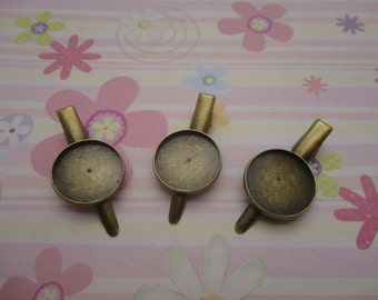 25 pcs bronze color 20mm pad brooch back base with 45mm clip and safety pin