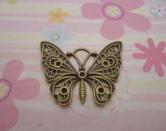5pcs antique bronze butterfly findings 48mmx36mm