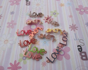 10pcs mix color love findings 40mmx15mm