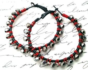 Red Silver Hoops, Beaded Hoop Earrings, Black Silver Hoops, Boho Jewelry, Beaded Hoops for Her, Cool Gift for Her, Birthday Gift, Large hoop